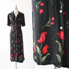 Vintage 90s floral Tulip black _ red rayon maxi dress M L