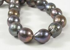 12-13 x 16 mm approx. Peacock Large Hole Graduated Baroque Pearl Beads (#232)