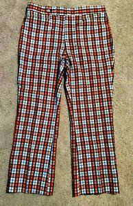 VINTAGE 60s 70s PANTS loud Plaid Leisure Slack multicolor Disco 36x29 Golf