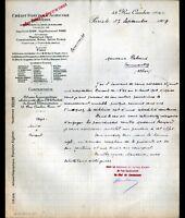 """PARIS (I°) BANQUE """"CREDIT FONCIER & AGRICOLE d'ALGERIE"""" en 1909"""