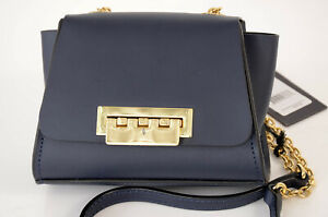 Zac Posen Eartha navy blue leather chain mini cross body handbag purse NEW $325