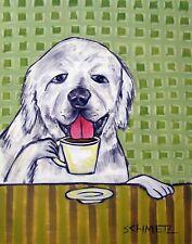 great pyrenees coffee 11x17  dog art PRINT glossy Photo JSCHMETZ