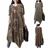 ZANZEA Womens Long Sleeve Casual Leopard Floral Midi Dress Ladies Beach Kaftan