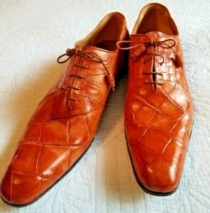 Men's Lt. Brown MAURI Dress Shoes Size 12 M Genuine Alligator Italy Hand Painted