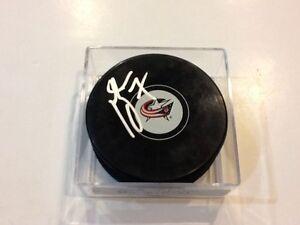 Jack Johnson Signed Hockey Puck Columbus Blue Jackets Autographed c