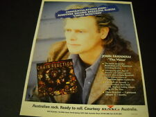 John Farnham another record breaking lp Chain Reaction 1991 Promo Poster Ad Mint
