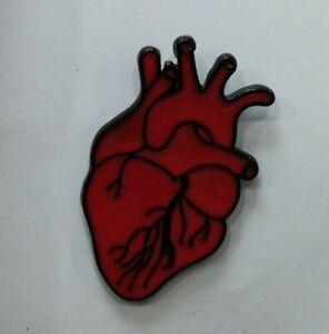 Anatomical red heart enamel pin badge 30mm