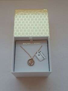 Michael Kors womens 'MK' Logo Rose Gold Necklace with Box MKJX7327791