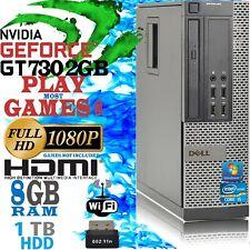 FAST DELL QUAD CORE i5 GAMING COMPUTER 8GB 1TB WiFi GT 730 2GB CHEAP GAMING PC