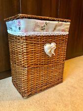 Large Light Brown Honey Walnut Wicker Laundry Basket Rattan Storage Handles Lid