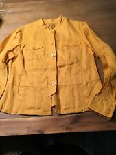 Coldwater Creek Gold Yellow Linen Blazer Jacket, Size 12 Fitted