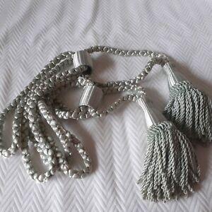 Vintage Tassel Curtain Drapery Tie Backs - Celadon Green- 1 Pair