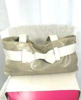 "ROBERTA GANDOLFINI Nwot Italian Taupe/Ivory Women's Handbag With 2"" Bow Detail"