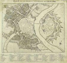 Dresde-plan de la ville-plan de la ville-van der schley-cuivre pli 1758