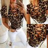 ❤ Women's Leopard Print Blouse Tops Summer Short Sleeve Bandage Slim Fit T Shirt