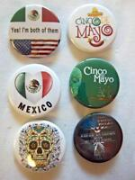 "1.5"" MEXICAN HERITAGE Set #1  6-pk Novelty Buttons/Pins: For backpacks & Jackets"