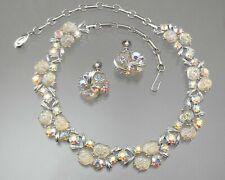 Vintage Signed Lisner Lava Rock Glass Set Rhinestone Necklace Earrings Moonstone