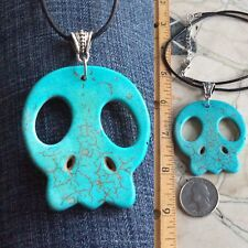 ON SALE..HOWLITE STONE CARVED SKULL NECKLACE + NECKLACE CHOICES