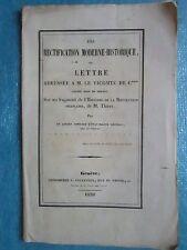 RECTIFICATION HISTOIRE DE THIERS (Sardaigne, Piémont). Genève 1838. Lettre MS.