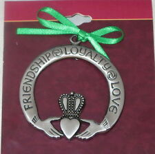 Friendship Loyalty Love Christmas Ornament Claddagh Hands Heart Irish Pewter New