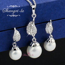 18K White GOLD Filled White PEARL NECKLACE Earrings SWAROVSKI CRYSTAL SEX452