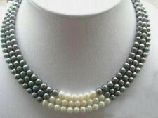 """Black White Natural Pearl Necklace 17-19"""" 3Rows 7-8MM"""