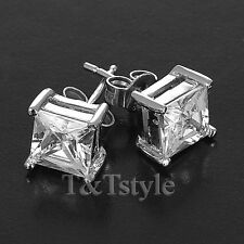 T&T 5mm 925 Sterling Silver RHODIUM Clear CZ Square Stud Earrings