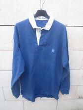 Polo SERGE BLANCO Team Quinze 15 rugby shirt bleu manches longues brodé dos M