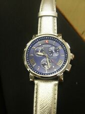 Michele Chronograph Silver Leather blue face