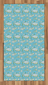 Shark Area Rug Decorative Flat Woven Accent Rug Home Decor in 2 Sizes