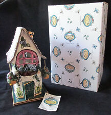 Blue Sky Clayworks Heather Goldminc Tea Light Candle House W/ Base, Tag & Box