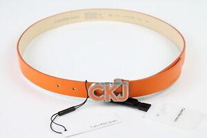 CALVIN KLEIN JEANS Unisex 90 CM Narrow Orange Logo Buckle Leather Belt 39028-ES