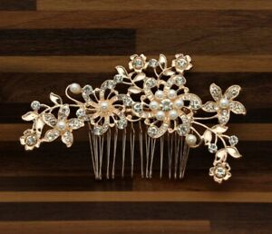 Bridal Wedding Party Prom Flower Crystal Rose Gold Ivory Pearl Hair Clip Comb