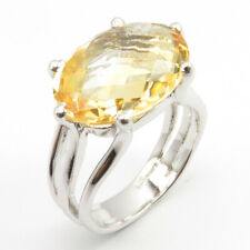 925 Solid Sterling Silver Rhodium Plated Natural CITRINE Ring Sz 7.5 Bestseller