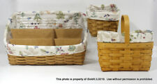 Lot 3 Longaberger Large & Small Desktop Basket, Classic Candle w/ Liners