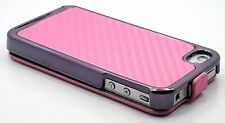 for iPhone 4 4s cell phone carbon fiber flip case cove 3 in 1 red pink white