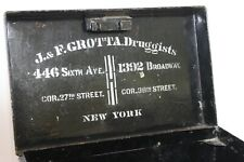 Antique Steel Cash Box New York City GROTTA DRUGGISTS Greenwich Village