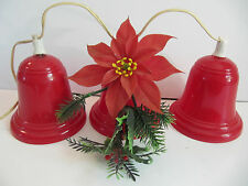 "Vintage Red Plastic 3 Bell Cluster Christmas 5"" Light Covers Set"