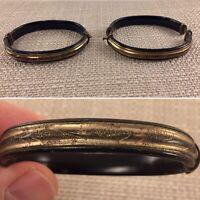 Antique Victorian Edwardian Hinged Black Enamel Mourning Wedding Bracelet Set