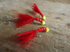 3 X  BEADED BLOODWORM ,FLY FISHING TROUT FLIES, LURES, SIZE 8 BUZZER HOOK
