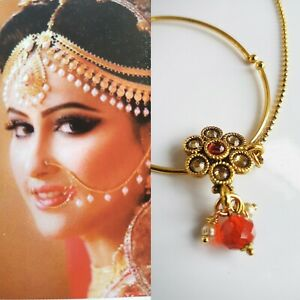 Ladies Nose Ring Nath With Chain Bollywood Jewellery Bridal Asian Indian Costume