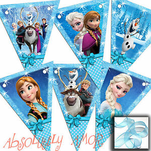 Frozen Paper Bunting 6/12 Small/Large Flags inc Elsa,Anna,Olaf Birthday HANDMADE