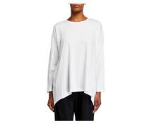 ESKANDAR Long Sleeve Round Neck 100% Pima Cotton Thick T-Shirt $295 One Size
