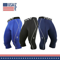 Mens COOVY Sports Compression Under Base Layer 3/4 Tights Armour Running pants