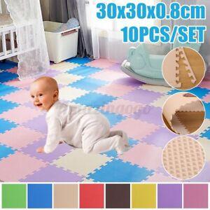 10Pcs Kids Tile Puzzle Exercise Play Mat Gym Yoga Crawling Activity Floor Carpet