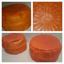 MOROCCAN 100% REAL LEATHER SET OF 2 ORANGE POUFFES HANDMADE FOOTSTOOL BEANBAG