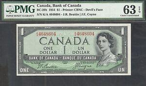 1954 DEVIL'S FACE $1.00 BC-29b PMG CH UNC-63 EPQ Gorgeous QEII Canada DF Dollar