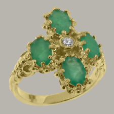 9ct Yellow Gold Cubic Zirconia & Emerald Womens Cluster Ring - Sizes J to Z