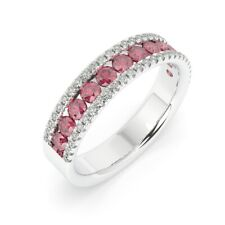 1.50 Ct Ruby and Diamond Half Eternity Ring in White Gold