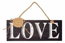 """Rustic Primitive Wooden LOVE Sign with Burlap Rose Accent, 15.75"""" x 6"""""""